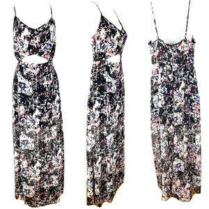 Topshop cut out midriff maxi dress long slits